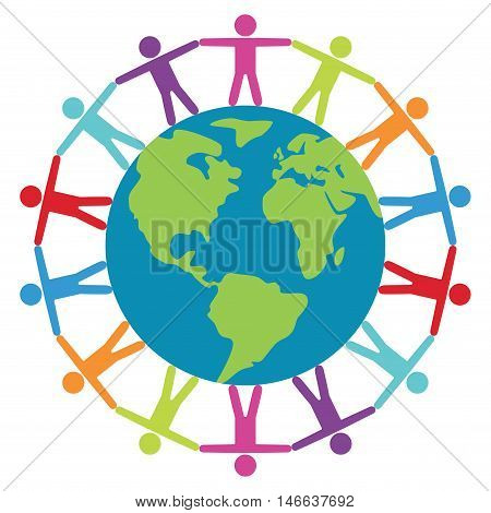 vector illustration of people around the world peace or travel concept