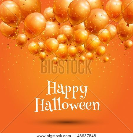 Happy Halloween background with orange balloons