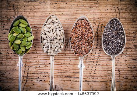Healthy Superfood: Pumpkin Seeds, Sunflower Seeds, Flax Seeds And Chia