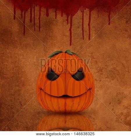 Grunge Halloween background with spooky pumpkin