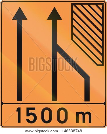 Temporary Road Sign Used In Belgium - Lane Configuration