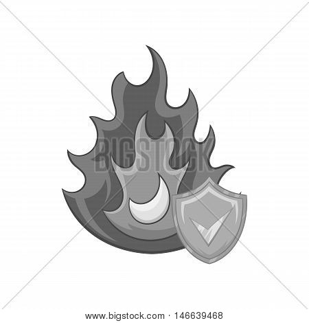 Fire insurance icon in black monochrome style on a white background vector illustration