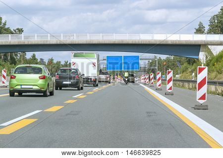 Highway With Road Construction Zone