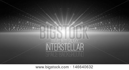 Vector interstellar space background.Cosmic galaxy illustration.Background with nebula, stardust and bright shining stars.Vector Illustration for party flyers, artwork