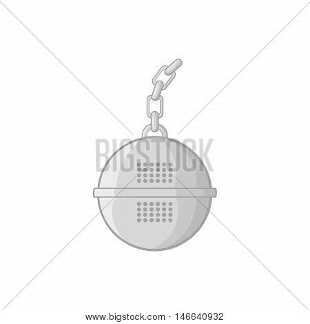 Steel strainer icon in black monochrome style on a white background vector illustration