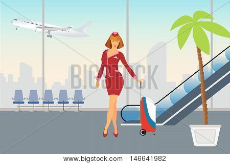 Airport passenger terminal and waiting room international arrival and departures background vector illustration
