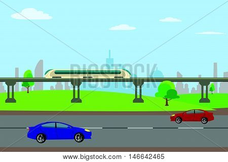 Roads and railways were handed down for the city vector illustration