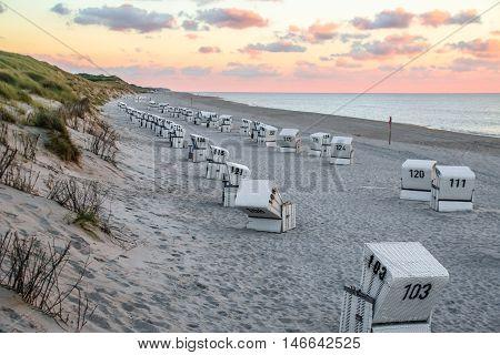 Beach Chairs near the sea at Sylt Germany