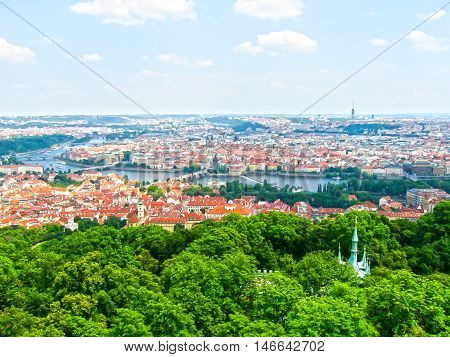 View from above to tiled roofs of old town panorama of Prague Czech republic