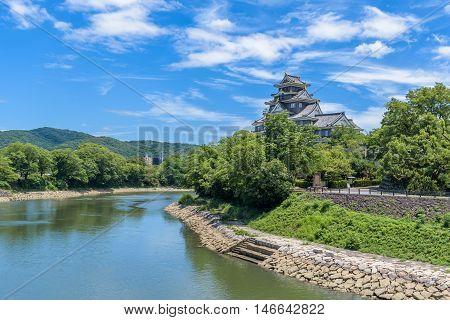 Okayama Castle view from Korakuen garden, Okayama Japan