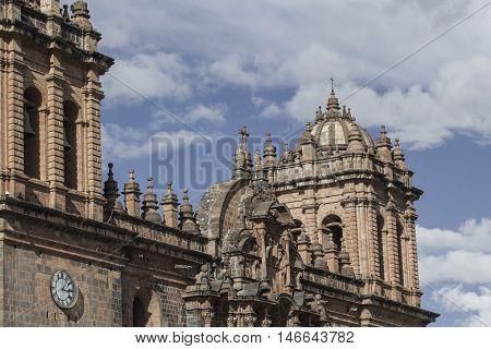 La Compania De Jesus Church On Plaza De Armas Square In Cuzco, Peru.