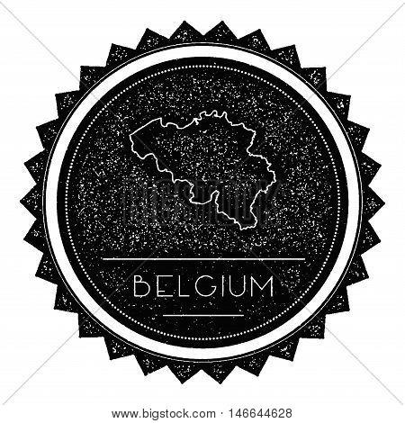 Belgium Map Label With Retro Vintage Styled Design. Hipster Grungy Belgium Map Insignia Vector Illus