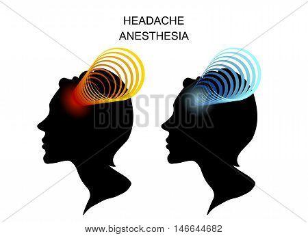 illustration of headache in women. migraine. head