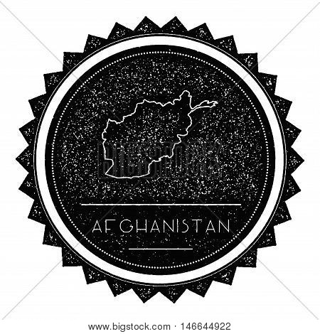 Afghanistan Map Label With Retro Vintage Styled Design. Hipster Grungy Afghanistan Map Insignia Vect