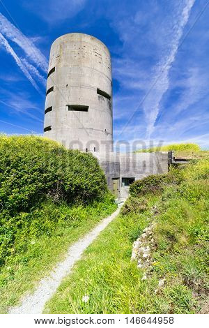 Pleinmont observation tower, Guernsey, built by the occupying German Forces during WW2 poster