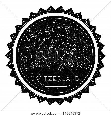 Switzerland Map Label With Retro Vintage Styled Design. Hipster Grungy Switzerland Map Insignia Vect