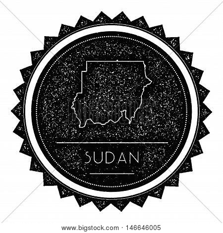 Sudan Map Label With Retro Vintage Styled Design. Hipster Grungy Sudan Map Insignia Vector Illustrat