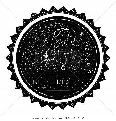 Netherlands Map Label With Retro Vintage Styled Design. Hipster Grungy Netherlands Map Insignia Vect