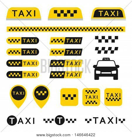 Taxi set icons logo buttons and other vector elements isolated from the background. Yellow checkered signs for taxi or cab services in the flat style.