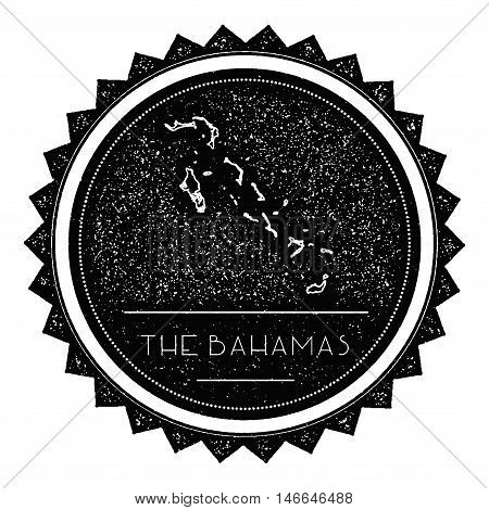 Bahamas Map Label With Retro Vintage Styled Design. Hipster Grungy Bahamas Map Insignia Vector Illus
