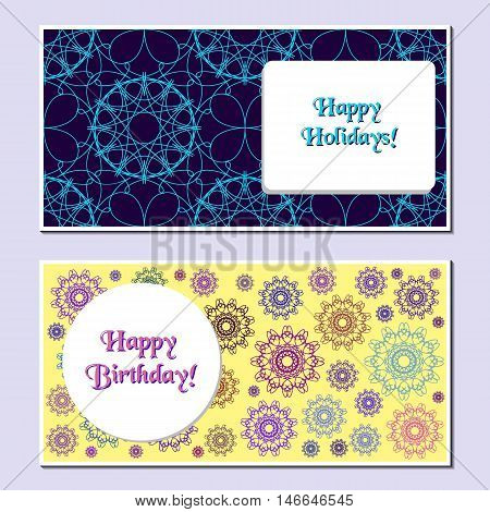 Set of delicate universal cards. Geometric and spirograph textures. Wedding, birthday, anniversary, Valentin day, party invitations. Stock vector illustration.