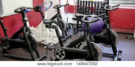 Stationary bikes and weights and other workout equipment