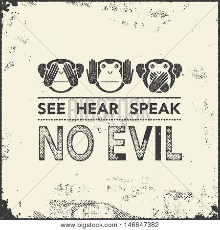 See no evil, hear no evil, speak no evil. wise monkeys. Vector illustration.