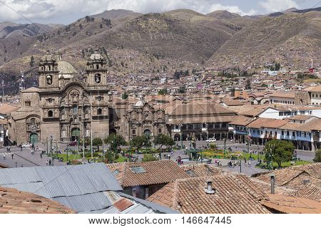 Aerial View Of The Main Square In The Capital Of Incas, Cusco, Peru