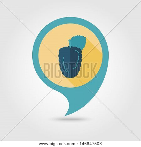 Blackberry bramble flat vector pin map icon. Map pointer. Map markers. Berry fruit. Vector illustration eps 10