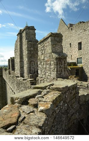 A view along the ramparts at Craigmillar castle