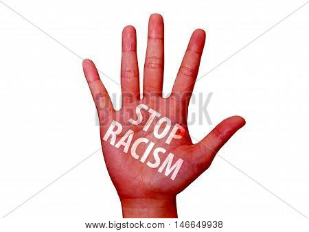 isolated stop racism written on a hand