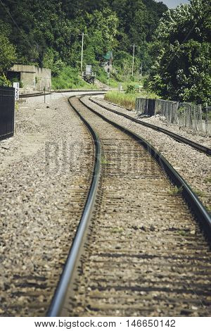 Railroad through Hannibal, Missouri in the Summer.