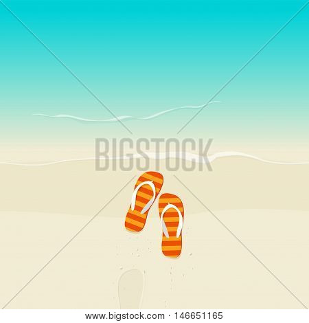 Flip flops on beach vector illustration, flat cartoon flipflop on sand near sea with footprint top view