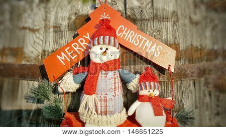 Merry Cristmas snowmen. Holiday concept. Snowmen toy in summer