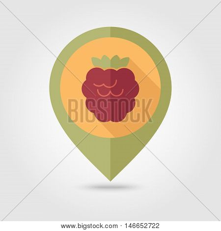 Raspberry flat vector pin map icon. Map pointer. Map markers. Berry fruit. Vector illustration eps 10