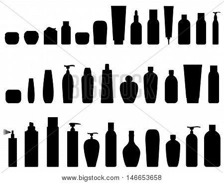 black cosmetic bottle icon set on white background