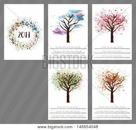 A scalable vector calendar for the year 2017 with a watercolor and vector drawing of a tree changing as the seasons change, with four pages and a cover with an abstract texture, with copyspace