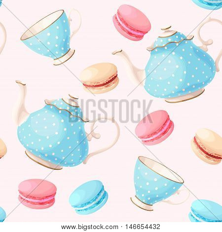 Vintage tea pots, cups and macaron vector seamless background
