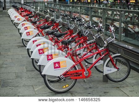 ANTWERP, BELGIUM, SEPTEMBER 11, 2016: Bicycle parking for rent in Antwerp.