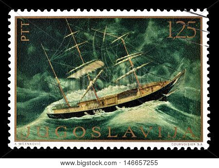 YUGOSLAVIA - CIRCA 1969 : Cancelled postage stamp printed by Yugoslavia, that shows painting by Franasovic.
