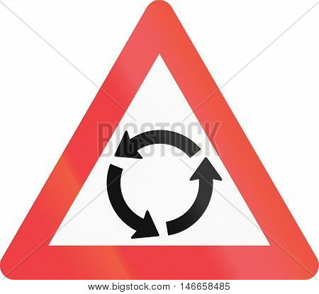 Warning Road Sign Used In Denmark - Roundabout Warning