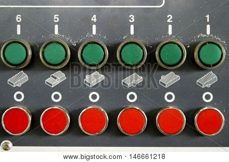 Detail of control board panel with lines of buttons