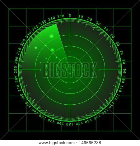Military green radar. Screen with target. Futuristic HUD interface. Stock vector .