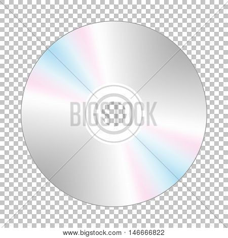 Realistic cd-disk backside, isolated on the checkered background.