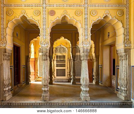Fragment of internal architecture City Palace Jaipur