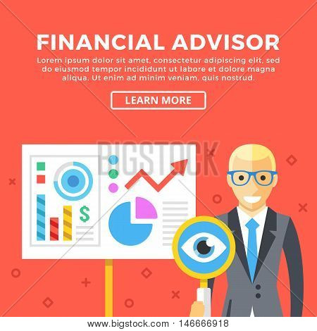 Financial advisor concept. Business character and presentation board. Modern graphic elements set for web banners, web design, infographics, printed materials. Creative flat design vector illustration