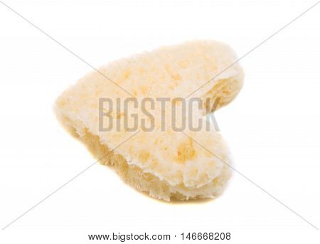 bread heart love, symbol food on white background