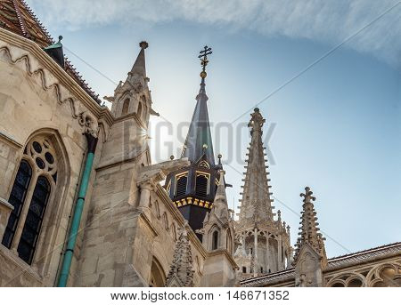 Skyward view of French Gothic style Matthias Church Buda Castel Hungary