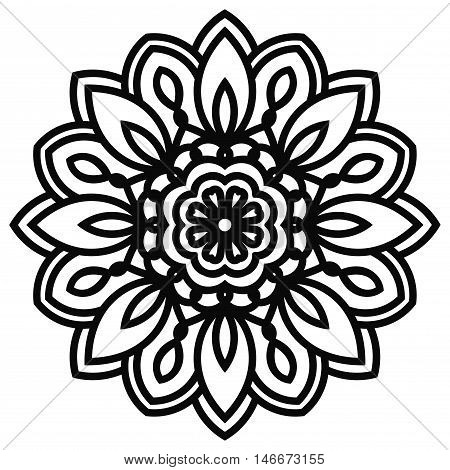Lace mandala in zentangle style. Top view of black fantasy flower. Large head of a flower. Ornamental geometric mandala isolated on white background. Vector illustration.