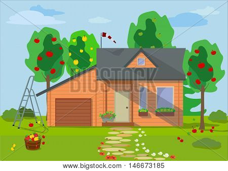 Rural landscape with wooden eco house with fruit trees, flowers, blue sky and garden objects in flat style.